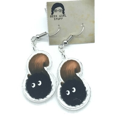 Squirrel soot acrylic charm earrings