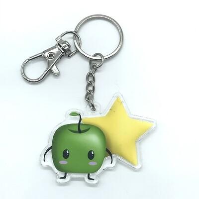 Forest spirit green acrylic charm keychain, zipper clip