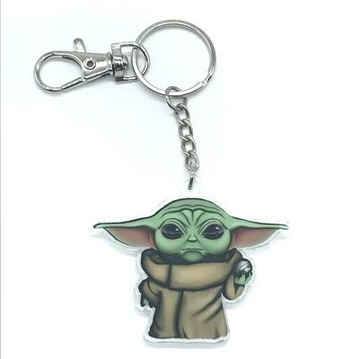 Child double-sided acrylic charm keychain, zipper clip