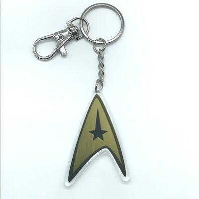 Commander acrylic charm keychain, zipper clip