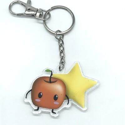 Forest spirit orange acrylic charm keychain, zipper clip