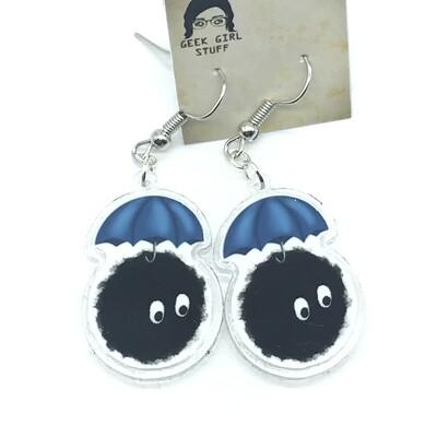 Umbrella soot acrylic charm earrings