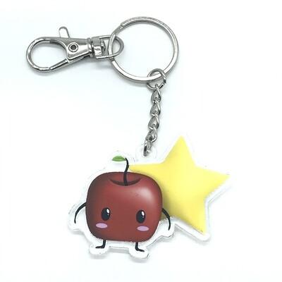 Forest spirit red acrylic charm keychain, zipper clip