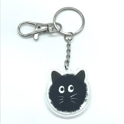 Cat soot acrylic charm keychain, zipper clip