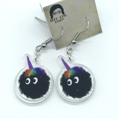Unicorn soot acrylic charm earrings