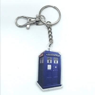Tardis acrylic charm keychain, zipper clip