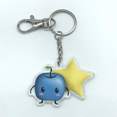 Forest spirit blue acrylic charm keychain, zipper clip