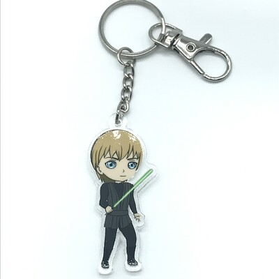 Luke acrylic charm keychain, zipper clip