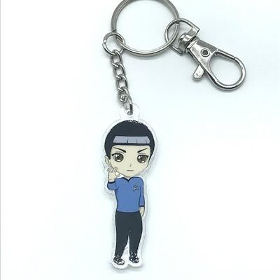 Spock acrylic charm keychain, zipper clip