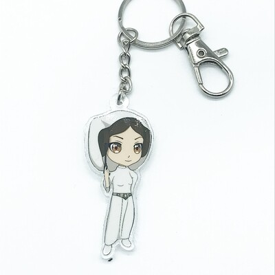 Leia acrylic charm keychain, zipper clip