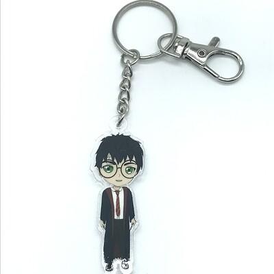 Harry acrylic charm keychain, zipper clip