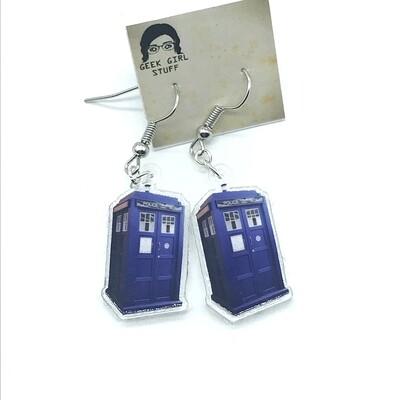 Tardis acrylic charm earrings