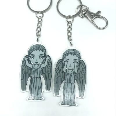 Angel double-sided acrylic charm keychain, zipper clip