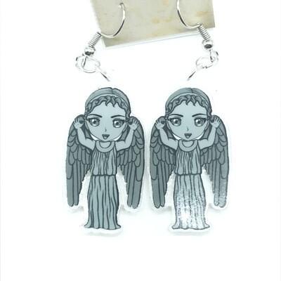 Angel rawr acrylic charm earrings