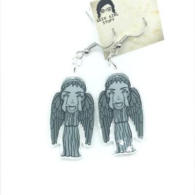 Angel weeping acrylic charm earrings