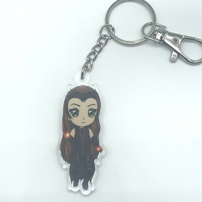Wanda acrylic charm keychain, zipper clip