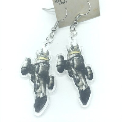 Sci-Fi Spaceship acrylic charm earrings