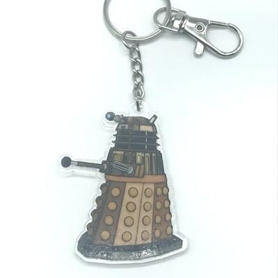 Dalek acrylic charm keychain, zipper clip