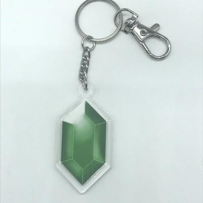Green Rupee double-sided acrylic charm keychain, zipper clip