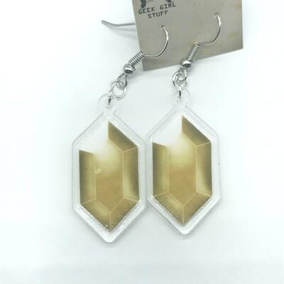 Yellow Rupee acrylic charm earrings