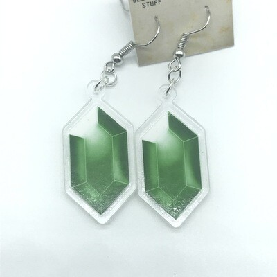 Green Rupee acrylic charm earrings