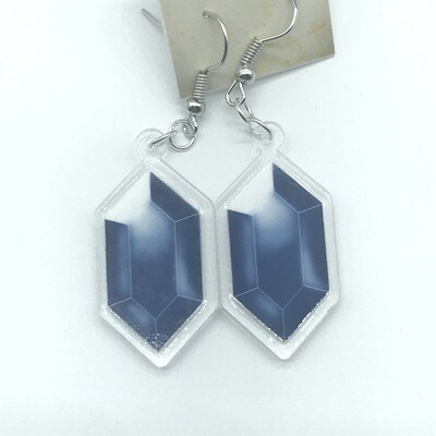 Blue Rupee acrylic charm earrings