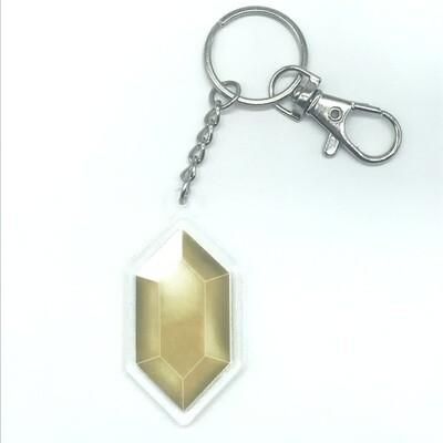 Yellow Rupee double-sided acrylic charm keychain, zipper clip