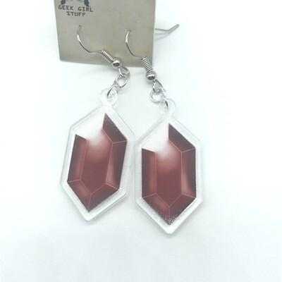 Red Rupee acrylic charm earrings