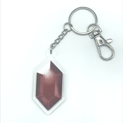 Red Rupee double-sided acrylic charm keychain, zipper clip