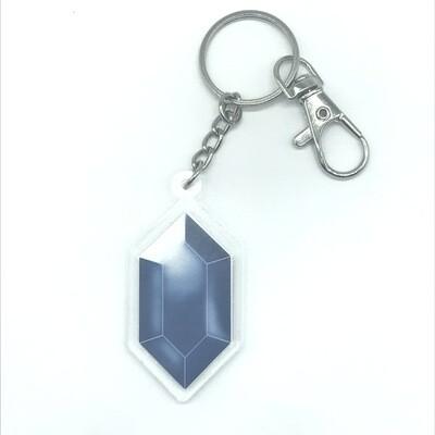 Blue Rupee double-sided acrylic charm keychain, zipper clip
