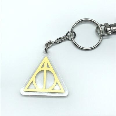 Small Deathly Hallows, gold acrylic charm keychain, zipper clip