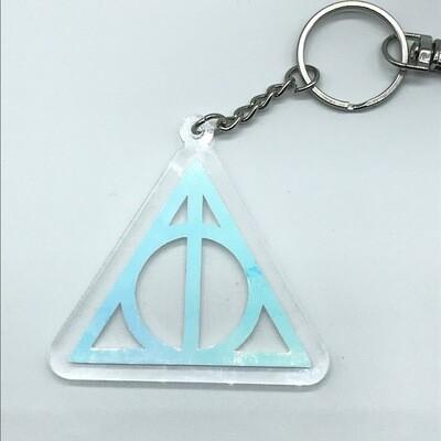 Large Deathly Hallows, unicorn acrylic charm keychain, zipper clip