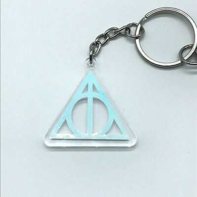 Small Deathly Hallows, unicorn acrylic charm keychain, zipper clip