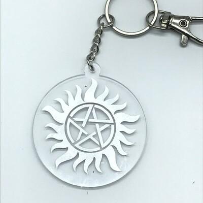 Large Anti-possession sigil, silver acrylic charm keychain, zipper clip