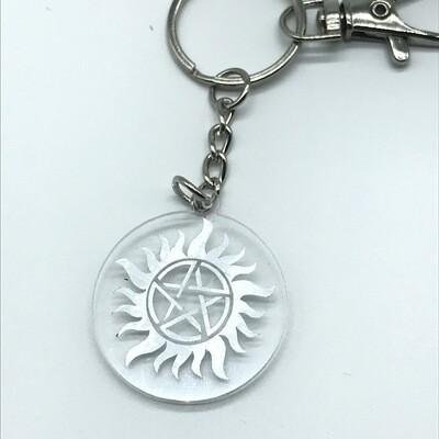 Small Anti-possession sigil, silver acrylic charm keychain, zipper clip