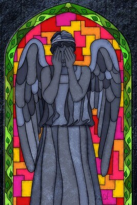 Stained Glass - Weeping Angel painting
