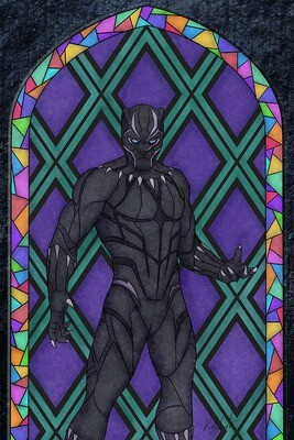 Stained Glass - Tchalla painting