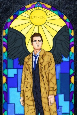 Stained Glass - Castiel painting