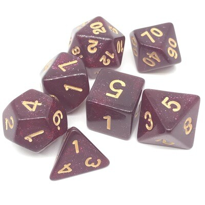 Dice Set - Red sparkly with gold numbers