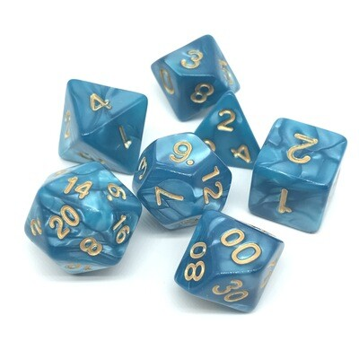 Dice Set - Teal marbled with gold numbers