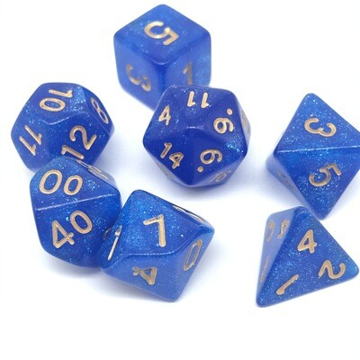 Dice Set - Blue sparkly with gold numbers