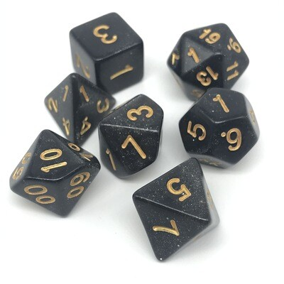 Dice Set - Black sparkly with gold numbers