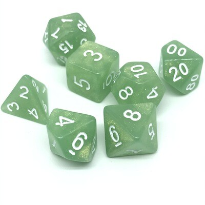 Dice Set - Green sparkly with white numbers