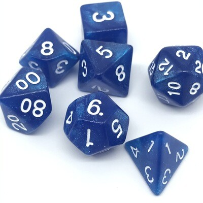Dice Set - Blue sparkly with white numbers