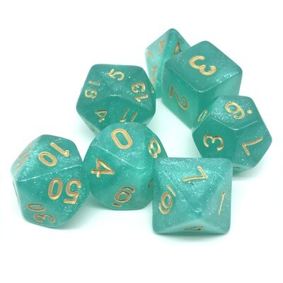 Dice Set - Teal sparkly with gold numbers
