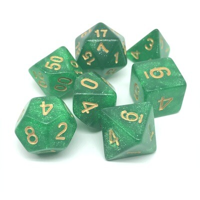 Dice Set - Green sparkly with gold numbers