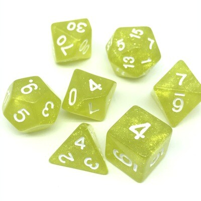 Dice Set - Yellow sparkly with white numbers