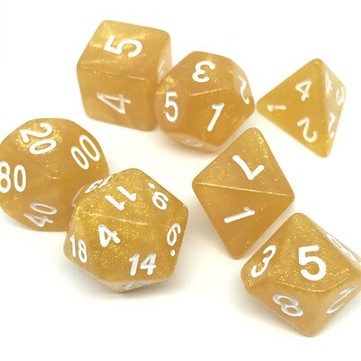 Dice Set - Yellow-gold sparkly with white numbers