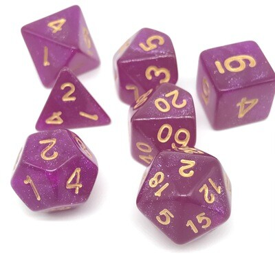 Dice Set - Pink sparkly with gold numbers