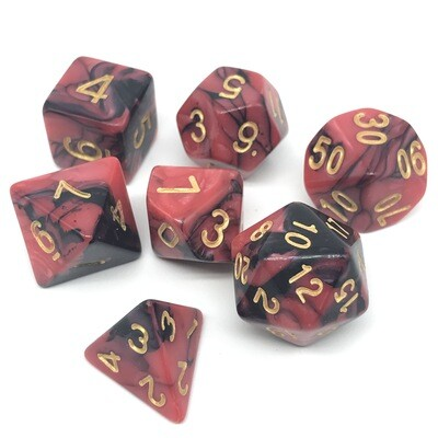 Dice Set - Black and red marbled with gold numbers